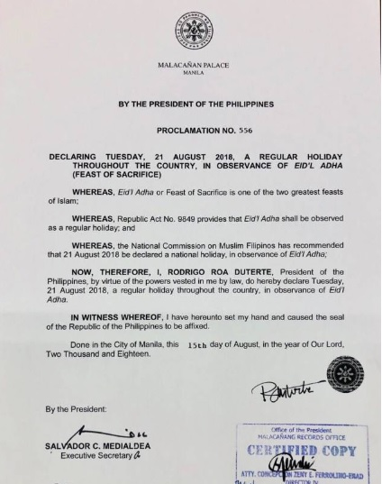 #WalangPasok, No Classes in PH on August 21, 2018 for Eid'l Adha