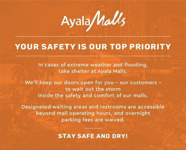 SM Supermalls and Ayala Malls Open their Doors to People Affected by Typhoon Ompong